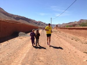 Chuck picks up running buddies - Maria and Fatima - along the way
