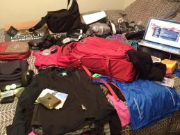 Stage One of packing for 5 weeks, 3 countries and a ton of running.