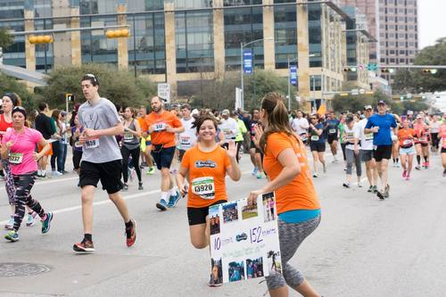 Lenora cheering on Marathon High students at the 2015 Austin Marathon and Half Marathon.